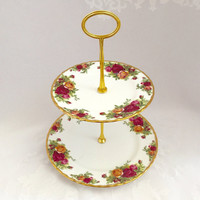 "Royal Albert ""Old Country Roses"" Two tiered cake stand"