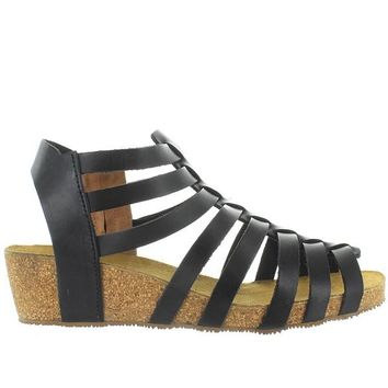 Eric Michael Rose - Black Leather Strappy Platform Wedge Sandal