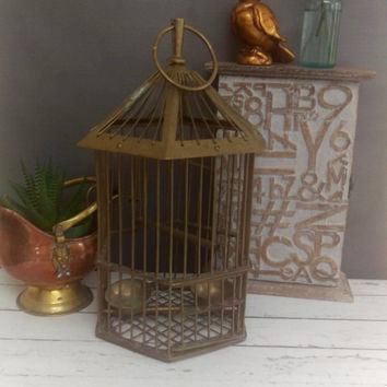 Bird Cage/ Antique Bird Cage/ Bird Cage Centerpiece/ Bird Cage Decor/ Vintage Bird Cage/ Brass Bird Cage/ Bird Cage Wedding
