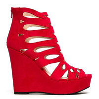 Clemence Sangria Red Cut-outs Peep toe Wedge Platform Heel