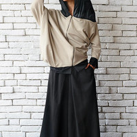 Two Color Loose Asymmetric Jacket/Urban Style Cardigan/Black and Beige Maxi Coat/Oversize Hooded Jacket/Plus Size Blazer with Hood