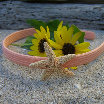 Girls/Toddlers Starfish Headband-ORANGE SHERBET-Mermaid Hair, Beach Wedding, Toddler Hair Photo Prop, Children, Coastal, Children, Fun