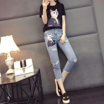 """Supreme"" Women Casual Fashion Sequin Patch Cartoon Cat Short Sleeve T-shirt Jeans Trousers Set Two-Piece"