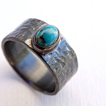 mens turquoise ring, bold mens ring turquoise, rustic wedding band, mens promise ring rustic, cross hammered ring, anniversary gift for him