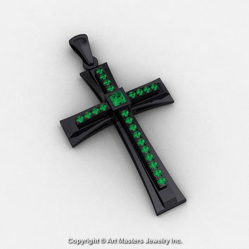 Classic Bridal 14K Black Gold 0.20 Ct Princess Emerald Cross Pendant C484-14KBGEM
