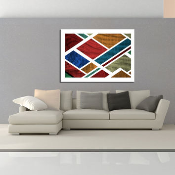 Mid Century modern Wall art, retro canvas print, colorful wall decor, Geometric Wall art, home and office wall decor canvas wall art No.718