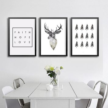 Geometric Deer Faith Quote Canvas Painting Nordic Poster Wall Art Prints Scandinavian Decoration Pictures Living Room Home Decor