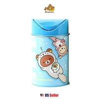 San-X Rilakkuma Medium Swing Lid Tin Trash Can / Bin : Otter Rilakkuma $7.99