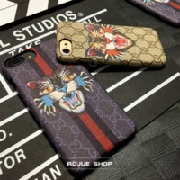Gucci Print Tiger iphone 7iphone 6s 7iphone 7plus full bag frosted lovers case hard shell