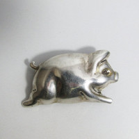 Vintage Brooch: Sterling Pig, Mexico