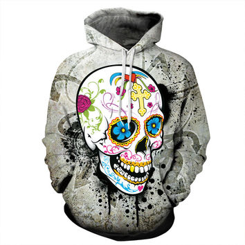 New Halloween Gift Hot Sell Stained Skull 3D Print Hooded Sweater Leisure Sweater Long Sleeve Casual Jackets Slim Fit Coats