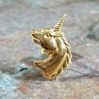 14k Gold Unicorn Earring Single Stud Post Earring Mystical Creature Legendary Fun to Wear in Extra Ear Hole 14k Yellow Gold Single Earring
