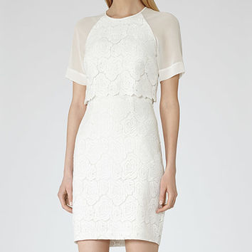 Calla White Floral Overlay Dress - REISS