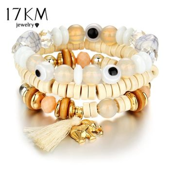 17KM Turkish Eye Elephant Bracelets For Women Fashion Wristband Female Handmade Multiple layers Crystal Bracelet Vintage Jewelry