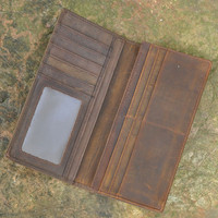 handmade genuine leather long wallet vintage card hold purse cool gift 40