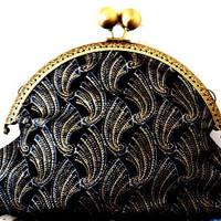 Art deco/shell print/metallic/gold/black/grey/blue/shell print/small clasp/clutch bag