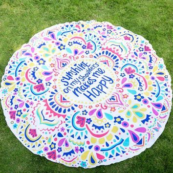 ESBONEJ Shunshine on my shoulders  Round Mandala  Large Wall Hanging Beach Towel Blanket