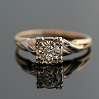 Vintage Diamond Engagement Ring - 14k Yellow and White Gold with Diamond