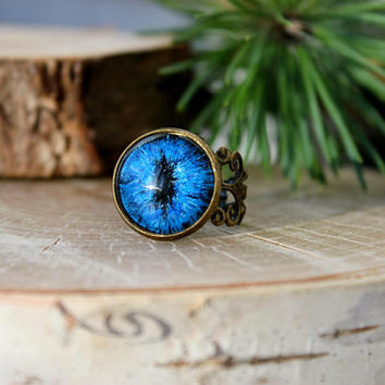 Dragon Eye Ring | Blue Dragon Eye | Hand Painted Glass Eye | Antique Bronze Ring | Personalized Jewelry