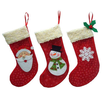 3Pcs/lot New Year Christmas Stockings Socks Santa Claus Candy Gift Bag Xmas Tree Decorations Festival Party Ornament