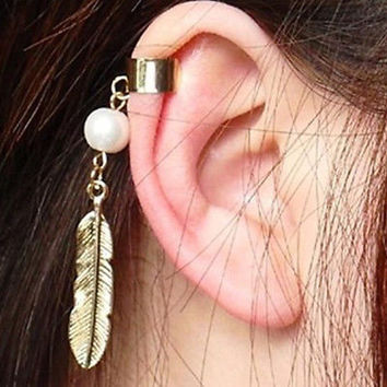 SIMPLE Punk Leaf Feather Pearl Dangle Earrings Clip Non Pierced Ear Cuff CCC
