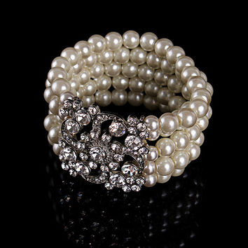 High quality faux pearl multilayer bracelet bridal rhinestone cuff bangles women charm jewelry for wedding accessories 1pc/lot