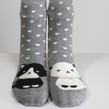 White Cat Black Cat Sock Heart Sock Gray Socks White Heart Chic Girls Socks Women Socks Funny Socks Ankle Socks Animal Socks Cute Fun Socks