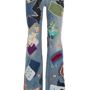 Roberto Cavalli - Embellished high-rise flared jeans