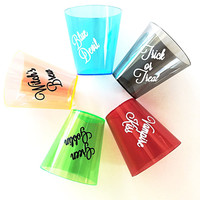 Halloween Shot Glasses - 10 Plastic 2 Ounce Shot Glass - Witch's Brew - Vampire Kiss - Blue Devil - Green Goblin - Trick or Treat