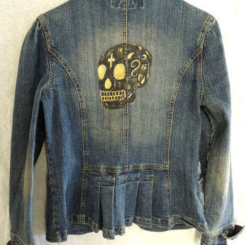 Hand-Painted Skull Denim Jacket size Med-Large SugarSkull