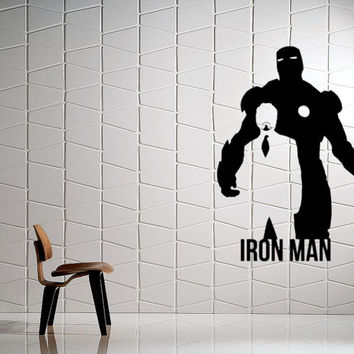 Avengers IRON MAN Silhouette Removable Interior (Matte Black) Wall Art / Vinyl Decal. Home Decor. Living Room / Bedroom
