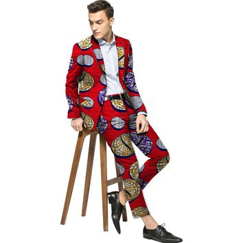 African blazers and trousers set men fashion africa print dashiki suits tailor made blazer+pant sets festival african clothes
