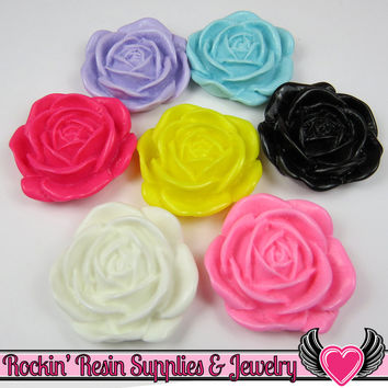 Colorful Mix 34mm Flower Cabochons (5 pieces) Rose Cabochons