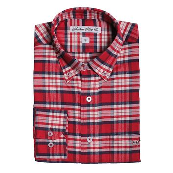Plantation Flannel in Red and White Plaid by Southern Point - FINAL SALE