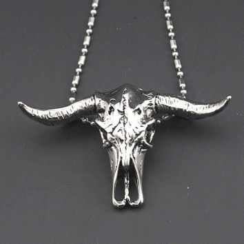 Stainless Steel Bull Head Necklace