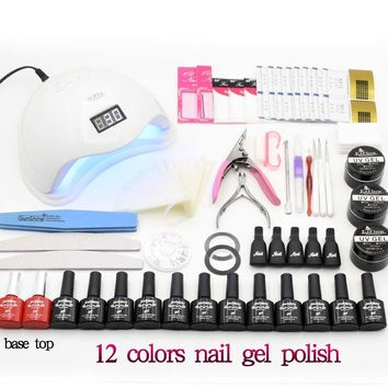 12pcs Nail Gel Polish Nail Set 36W/48W UV LED Lamp Dryer With Manicure Tools Gel Nail Polish Kit Nail Extension Set Art Tools