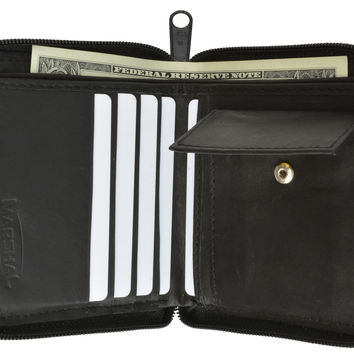 Mens Genuine Leather Zip Around Bifold Wallet with Snap Down Coin Purse 1356 CF (C)