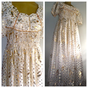 Long Gold Dress White Beaded Polka Dot Feather Print Boho Party Dress Fun Festive Formal Angel Costume Puffed Sleeve Bohemian