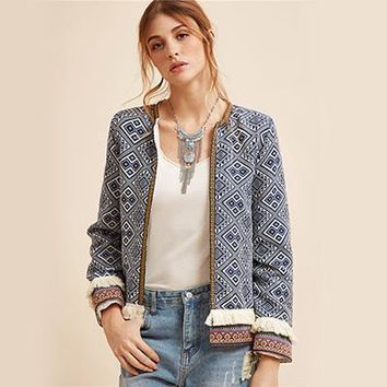 Embroidered Jacket w/Blue Vintage Fringe Trim