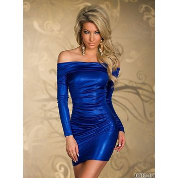 Fashion Blue/Red/Black/Silver/Purple Women Sexy Metallic Print Dresses Vestidos Slash Neck Bodycon Short Dress Night Clubwear
