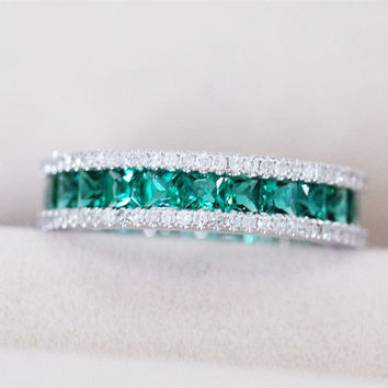VS Princess Cut Emerald Ring 5.85mm Wedding Band 14K White Gold Ring Full Eternity VS/H 0.78ct Diamond Emerald Engagement Ring Wedding Ring