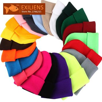[EXILIENS] 2017 New Spring Autum Watch Cap Beanies Caps Winter Wool Hat For Women Men Warm Knit Braided Hats Skull Cap Unisex