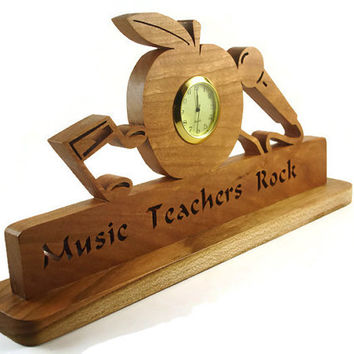 Music Teachers Rock Desk Or Shelf Clock Handmade From Cherry Wood By KevsKrafts