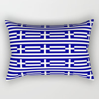 flag of greece 2-Greece,flag of greece,greek,Athens,Thessaloniki,Patras,philosophy,theater,tragedy Rectangular Pillow by oldking