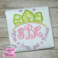 Frog Princess Inspired Monogram Tiara with Phrase - Princess Movie - Custom Tee