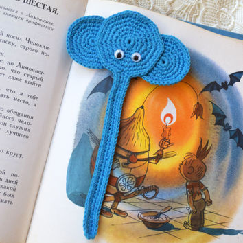 Crochet bookmark Elephant crocheted Kids animal bookmark Back to school Book lover gift planner reading accessories teacher gift kid gift