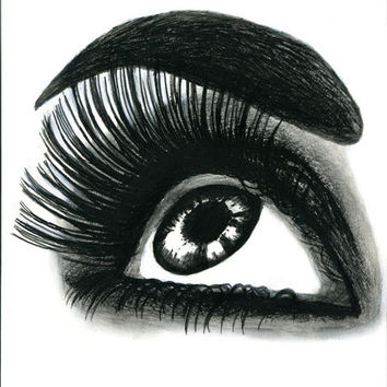Star Gazing womans eye colored pencil drawing original art black and white long lashes makeup beauty pop artwork