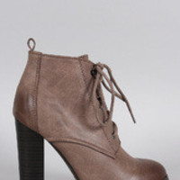 Women's Qupid Round Toe Lace Up Heeled Combat Ankle Boots