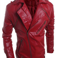 Multi-Zipper PU-Leather Long Sleeve Vintage Jacket