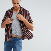 ASOS TALL Oversized Viscose Stripe Shirt With Revere Collar